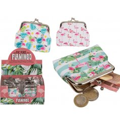 An assortment of 3 Tropical Flamingo Coin Purses