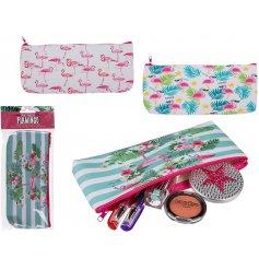 An assortment of 3 Tropical Flamingo Pencil Cases