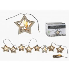 A string of 8 LED Wooden Star Christmas Lights