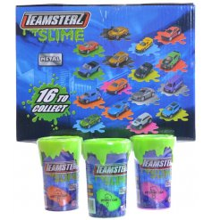 An assortment of 16 Teamsterz Slime Pot With Toy Car inside