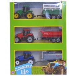 A set of 3 Farmyard Tractor & Trailer Playset