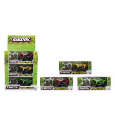 A coloured assortment of 3 Farm Styled Quad Bike toys
