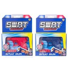 An assortment of 2 red and blue metal spud guns