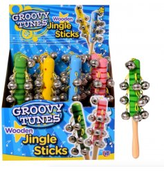 An assortment of 4 colourful Jingle Sticks With Bells