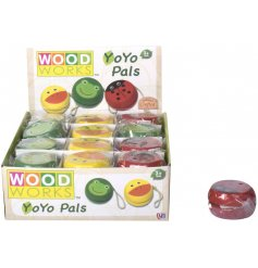 An assortment of wooden yoyos with Duck, Frog & Ladybird designs