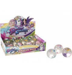 An assortment of 3 Magical Fairy Unicorn Mermaid Bouncing Balls