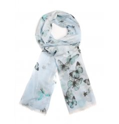A beautiful assortment of butterfly printed scarves in a range of pastel colours