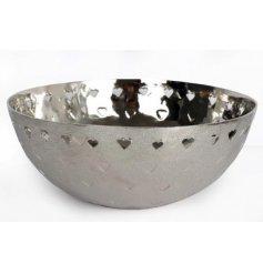 A 26cm Silver Heart Cut Out Bowl