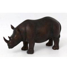 Bronzed Rhino Ornament   Set with its distressed bronzed effect and wide open mouth