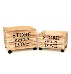 A set of 2 Wheeled Storage Crates with store with love print