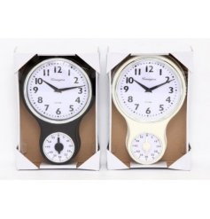 An assortment of 2 black/cream clocks with timers