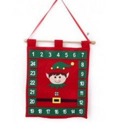 Enjoy the fun of advent with this family friendly elf design advent calendar with felt pockets.