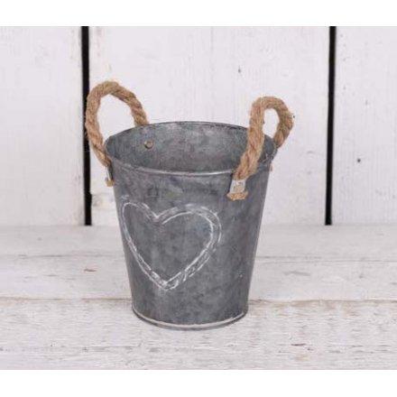 Round Zinc Planter With Rope Handles 13cm