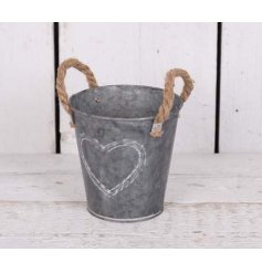 A small Round Zinc Planter With Rope Handles