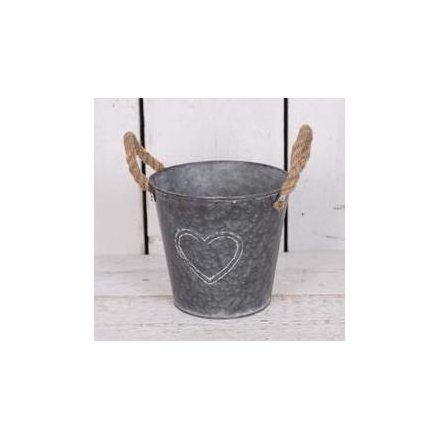 Large Round Zinc Planter With Rope Handles