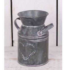 A Zinc Milk Churn With embossed Heart