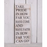 A beautifully rustic inspired wooden plaque, complete with a motivational printed block quote