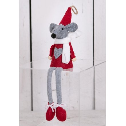 Dangly Legged Fabric Mouse - Red