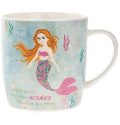 A fabulous little ceramic mug covered in an underwater themed print, perfectly finished with a mermaid