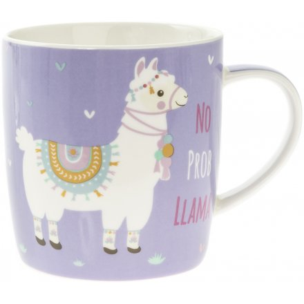 a wisely worded ceramic mug, set in a sleek purple tone and topped with a fabulously decorated llama picture
