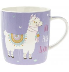 Improve any morning coffee or tea break with this absolutely fabulous 'no probllama' themed ceramic mug