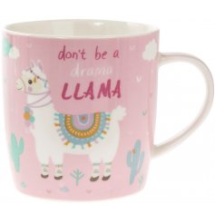 a wisely worded ceramic mug, set in a pretty pink tone and topped with a fabulously decorated llama picture