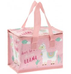 A pink lunch bag with Drama Llama quote