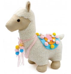This adorable fluffy bodied Llama doorstop will be sure to add a trending touch to any home decor or display