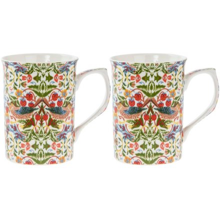 Strawberry Thief China Mugs, Set Of 2