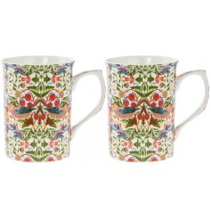 A set of 2 Strawberry Thief china Mugs