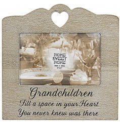 Bring a beautiful and sentimental touch to any grandparents home with this sweetly finished wooden picture frame