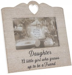 Bring a beautifully sentimental touch to any family home with this sweetly scripted wooden picture frame