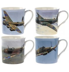 An assortment of 4 Airplane Ceramic Mugs