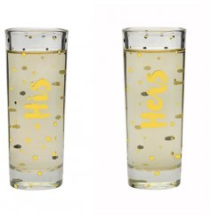 A set of 2 Shot Glasses with His & Hers script in gold