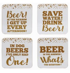 Add a comical touch to your drinking seshes with these humorous Beer inspired quoted coasters