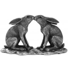 A Silver Reflections Ceramic Kissing Hares Ornament