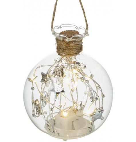A unique glass bottle bauble with jute string hanger.