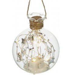 Bring a comforting and cozy essence to any home interior with this beautifully finished hanging glass decoration