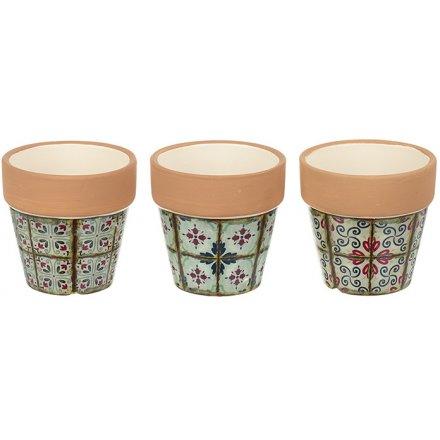 Small Terracotta Inspired Dolomite Pots 7cm