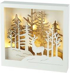 Bring home a wonderful warm glowing light with this beautifully finished wooden based light up display scene