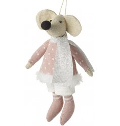 Bring a pretty pink touch to any Christmas tree or display set up with this very smartly dressed fabric mouse decoration