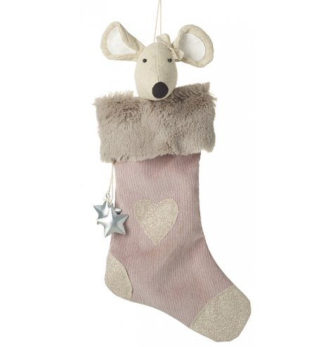 Peek-a-boo! A charming pink glitter stocking with a faux fur trim revealing an adorable natural fabric mouse.
