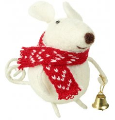 A sweet standing woollen decoration in a little mousey form