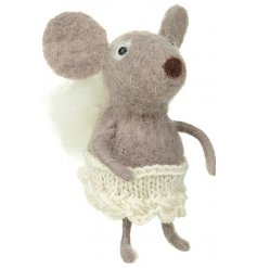 Set with his grey features, this white knitted skirt wearing mousy will bring an Angelic touch to any themed space