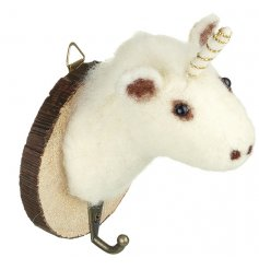 Add a magical touch to any home decor or display with this woollen unicorn wall hook