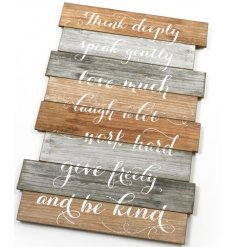 Set with its natural toned plank stack effect, this rustic script text plaque will be sure to hang beautifully in any fa