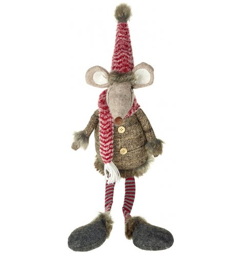 An adorable woodland inspired mouse decoration with fluffy hat and scarf.