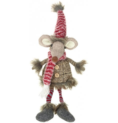 An adorable woodland mouse shelf sitter with red and grey dangling legs.