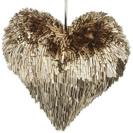 Golden Edge Heart Decoration 17cm