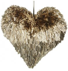 Bring a contemporary edge to any home decor with this trendy Champagne Gold Hanging Heart